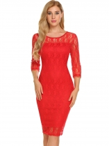 Red Women Elegant 3/4 Sleeve Floral Lace Bodycon Party Maillot de bain