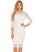 White Femmes blanches Elegant 3/4 Sleeve Floral Lace Bodycon Party Maillot de bain