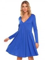 Blue Long Sleeve Solid V Neck Party Loose Ruched Dress