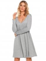 Grey Long Sleeve Solid V Neck Party Loose Ruched Dress