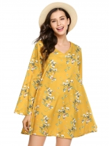 Yellow Floral Print Long Flare Sleeve V Neck Loose Dress
