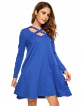 Blue Long Sleeve Criss Cross V Neck Shift Dress