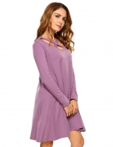 Light purple Long Sleeve Criss Cross V Neck Shift Dress