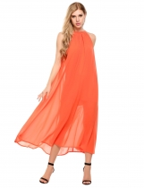 Orange O-Neck Sleeveless Chiffon Solid Maxi Dress