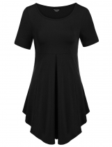 Black Short Sleeve Scoop Neck Pleated Soft Lightweight Dresses