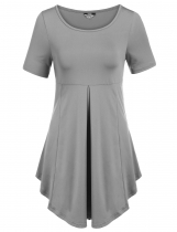 Gray Short Sleeve Scoop Neck Pleated Soft Lightweight Dresses