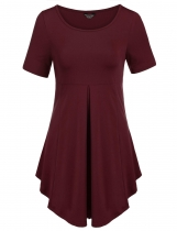 Wine red Short Sleeve Scoop Neck Pleated Soft Lightweight Dresses