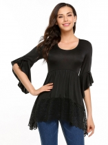 Femmes Mode O-Neck Ruffle Half Sleeve Lace Hem Tops