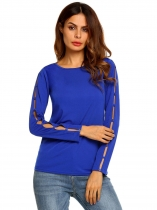 Royal Blue Long Cut-off Sleeve Basic Slim Solid Casual Tops