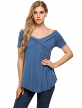 Blue Short Sleeve Off the Shoulder Cross Front Solid Tops