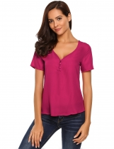 Rose red V-Neck Button Short Sleeve Solid Loose Fit Chiffon Blouse
