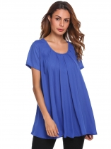 Blue Short Sleeve Solid Pleated Front Chiffon Loose Fit Tops