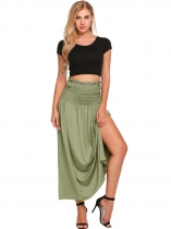Green Solid Elastic High Waist Ruched Maxi Skirt