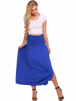 Royal Blue Solid Elastic High Waist Ruched Maxi Skirt