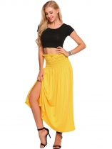 Yellow Solid Elastic High Waist Ruched Maxi Skirt