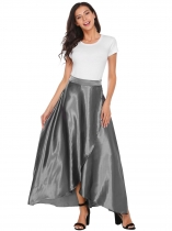 Grey Front Split High Waist Full Satin Skirts
