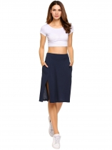 Navy blue Solid High Waist Front Split A-line Skirt