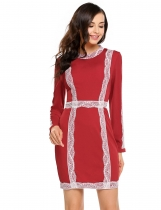 Wine red Long Sleeve Lace Patchwork Bodycon Pencil Mini Dress