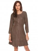 Brown Femmes manches longues Zip Up Ruffles Hem Slim Fit Faux Suede A Line Dress