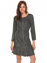 Dark gray Femmes manches longues Zip Up Ruffles Hem Slim Fit Faux Suede A Line Dress