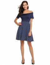 Navy blue Off The Shoulder Polka Dot Short Sleeve Cocktail Party Dress
