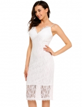 White Sleeveless Spaghetti Strap Lace Bodycon Pencil Dress