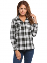 Black Plaid Long Sleeve Button Casual Women Shirt