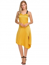 Yellow Bracelet femme jaune Asymétrique Hem Split Front Patchwork Casual Slim Fit Dress