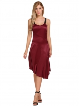 Wine red Strap Asymmetrical Hem Split Front Patchwork Casual Dress