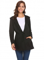 Black Women Casual Hooded Long Sleeve Turn Down Collar Jacket