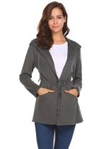 Gray Women Casual Hooded Long Sleeve Turn Down Collar Jacket