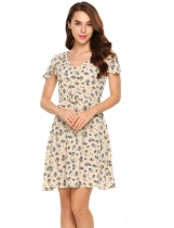 Beige Cap Sleeve V-neck Floral Chiffon Slim A-line Dress