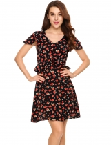 Femmes Manteau à capuche V-neck Floral Chiffon Mini A-ligne Robe Ruffles Slim Party