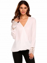 White Long Sleeve V-Neck Lace Patchwork Chiffon Blouse