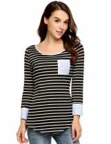Black Casual Long Sleeve Striped Patchwork Pocket Detail Tops