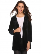 Black Long Sleeve Tassel Sash Solid Lint Jacket