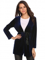 Navy blue Long Sleeve Tassel Sash Solid Lint Jacket