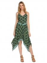 Green Spaghetti Strap Floral Asymmetric Dress