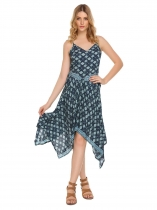 Blue Spaghetti Strap Floral Asymmetric Dress