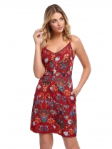 Red Femmes Mode Spaghetti Strap Sans manches Impression Floral A-Line Robe