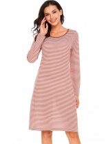 Orange Long Sleeve Striped O Neck Casual Dress