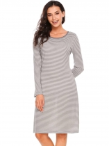 Gray Long Sleeve Striped O Neck Casual Dress