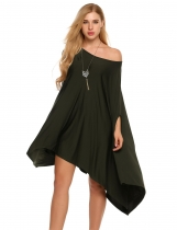 Green O Neck Solid Loose Cover-up Poncho Cape Tops