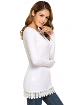 White Long Sleeve O Neck Hollow Front Lace Trim Slim T-Shirt