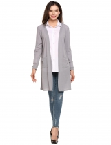 Grey Long Sleeve Sunscreen Pocket Open Front Cardigan