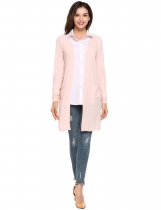 Pink Long Sleeve Sunscreen Pocket Open Front Cardigan