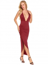 Wine red Femmes Plongeant Neck Halter Dos nu froncé Split Party Solid Midi Dress
