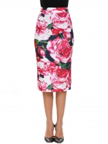 Blue red Floral Pull-On Strench Slim Pencil Skirt