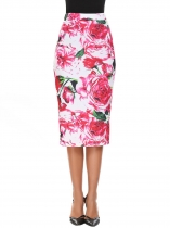 White red Floral Pull-On Strench Slim Pencil Skirt