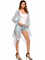 Light blue Long Sleeve Asymmetric Floral Chiffon Maxi Smock